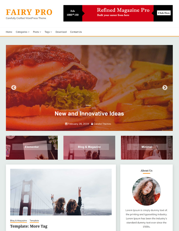 Fairy - WordPress Blog Theme with Full width image